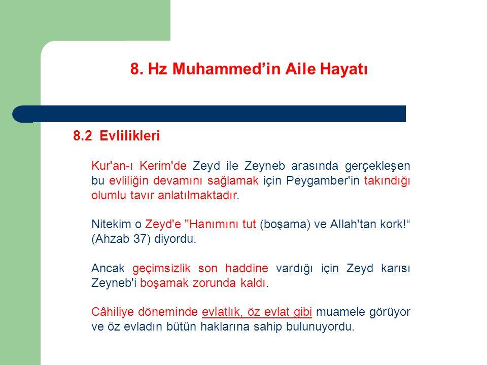 8. Hz Muhammed'in Aile Hayatı 8.2 Evlilikleri Kur'an-ı Kerim'de Zeyd ile Zeyneb arasında gerçekleşen bu evliliğin devamını sağlamak için Peygamber'in