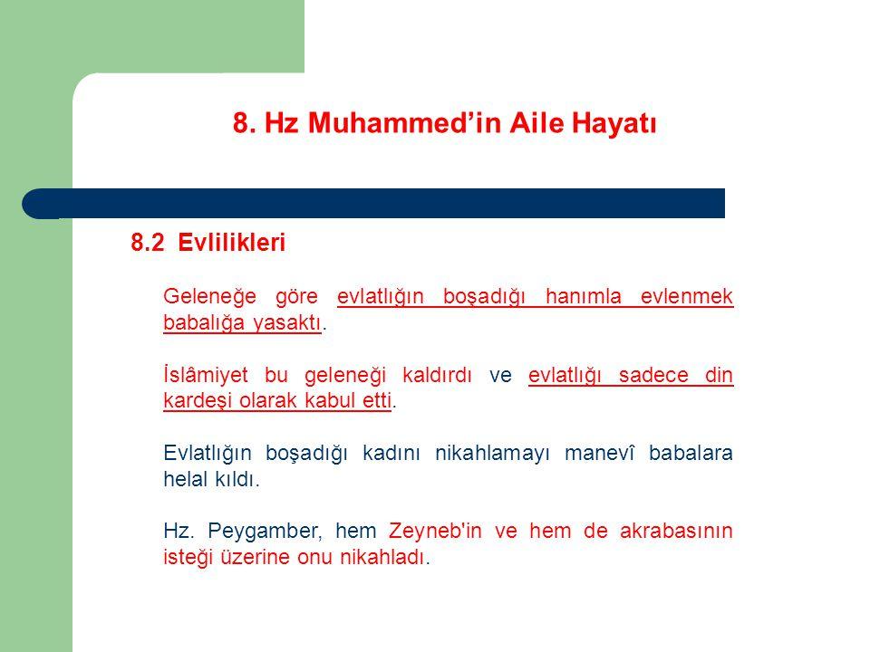 8. Hz Muhammed'in Aile Hayatı 8.2 Evlilikleri Geleneğe göre evlatlığın boşadığı hanımla evlenmek babalığa yasaktı. İslâmiyet bu geleneği kaldırdı ve e
