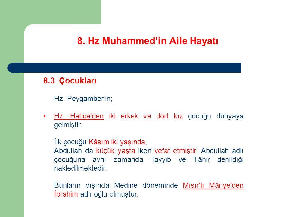 8. Hz Muhammed'in Aile Hayatı 8.3 Çocukları Hz. Peygamber'in; Hz. Hatice'den iki erkek ve dört kız çocuğu dünyaya gelmiştir. İlk çocuğu Kâsım iki yaşı