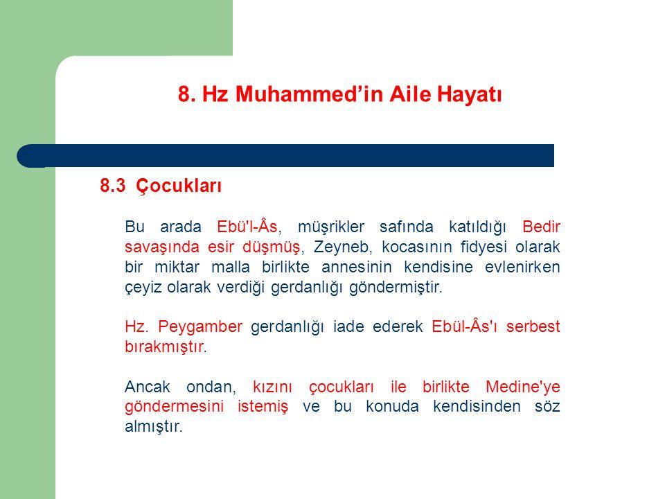 8. Hz Muhammed'in Aile Hayatı 8.3 Çocukları Bu arada Ebü'l-Âs, müşrikler safında katıldığı Bedir savaşında esir düşmüş, Zeyneb, kocasının fidyesi olar