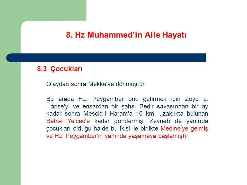 8. Hz Muhammed'in Aile Hayatı 8.3 Çocukları Olaydan sonra Mekke'ye dönmüştür. Bu arada Hz. Peygamber onu getirmek için Zeyd b. Hârise'yi ve ensardan b