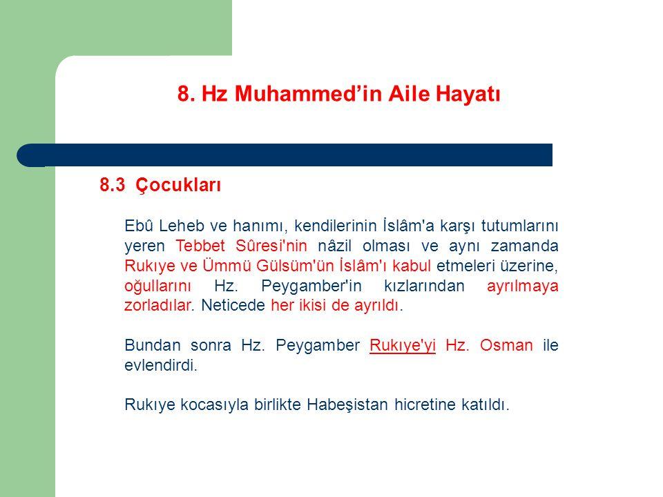 8. Hz Muhammed'in Aile Hayatı 8.3 Çocukları Ebû Leheb ve hanımı, kendilerinin İslâm'a karşı tutumlarını yeren Tebbet Sûresi'nin nâzil olması ve aynı z