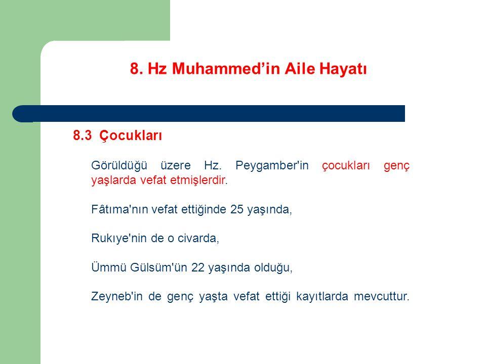8. Hz Muhammed'in Aile Hayatı 8.3 Çocukları Görüldüğü üzere Hz. Peygamber'in çocukları genç yaşlarda vefat etmişlerdir. Fâtıma'nın vefat ettiğinde 25