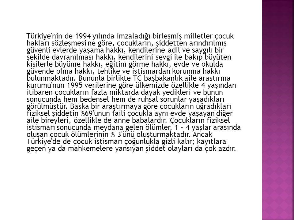 Türkiye'nin de 1994 yılında imzaladığı birleşmiş milletler çocuk hakları sözleşmesi'ne göre, çocukların, şiddetten arındırılmış güvenli evlerde yaşama