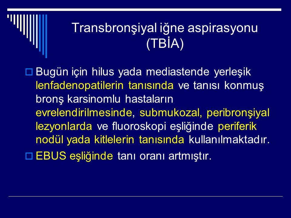 Transbronşiyal iğne aspirasyonu (TBİA)  Bugün için hilus yada mediastende yerleşik lenfadenopatilerin tanısında ve tanısı konmuş bronş karsinomlu has