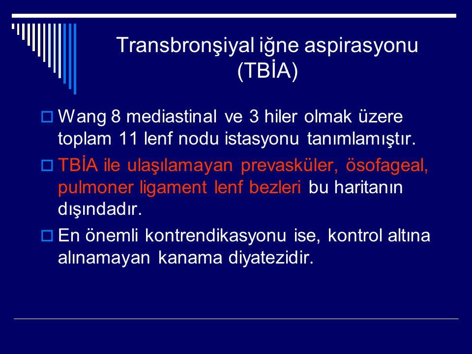 Transbronşiyal iğne aspirasyonu (TBİA)  Wang 8 mediastinal ve 3 hiler olmak üzere toplam 11 lenf nodu istasyonu tanımlamıştır.  TBİA ile ulaşılamaya