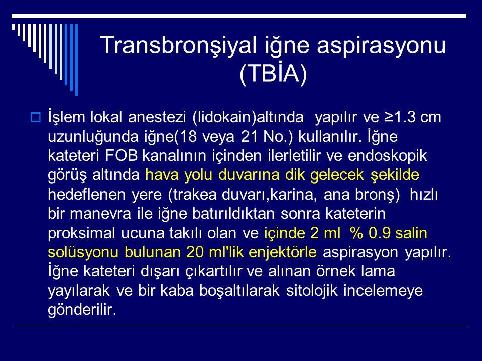 Transbronşiyal iğne aspirasyonu (TBİA)  İşlem lokal anestezi (lidokain)altında yapılır ve ≥1.3 cm uzunluğunda iğne(18 veya 21 No.) kullanılır. İğne k