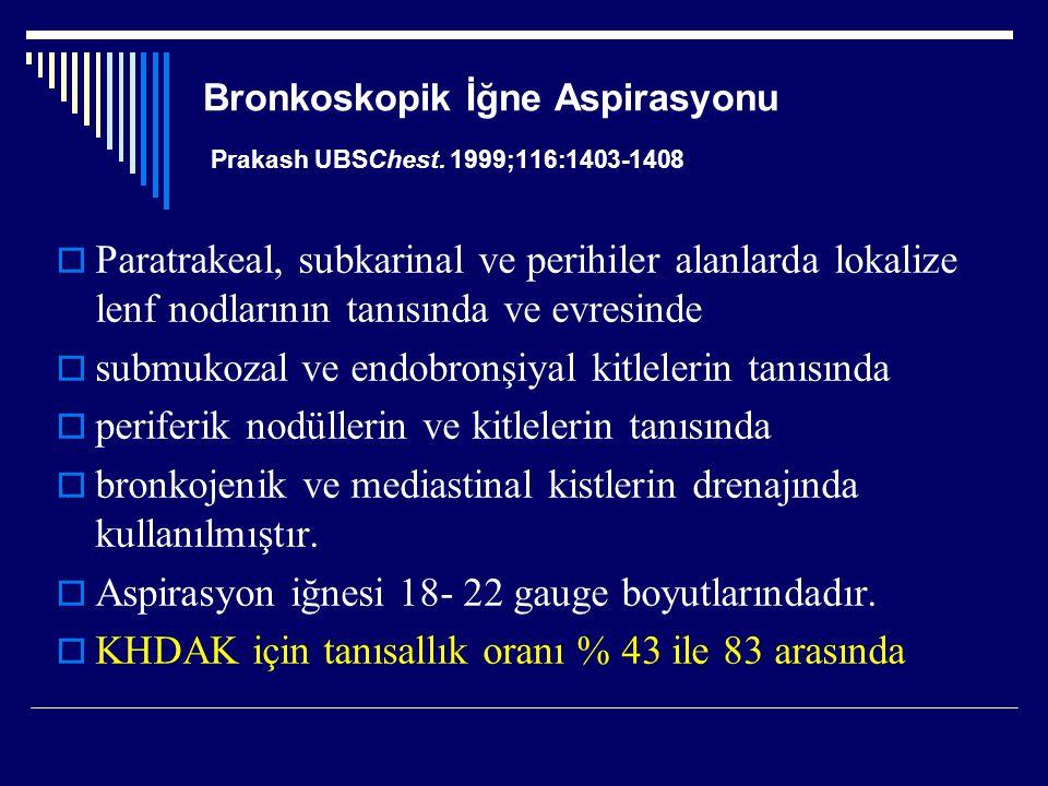 Bronkoskopik İğne Aspirasyonu Prakash UBSChest. 1999;116:1403-1408  Paratrakeal, subkarinal ve perihiler alanlarda lokalize lenf nodlarının tanısında