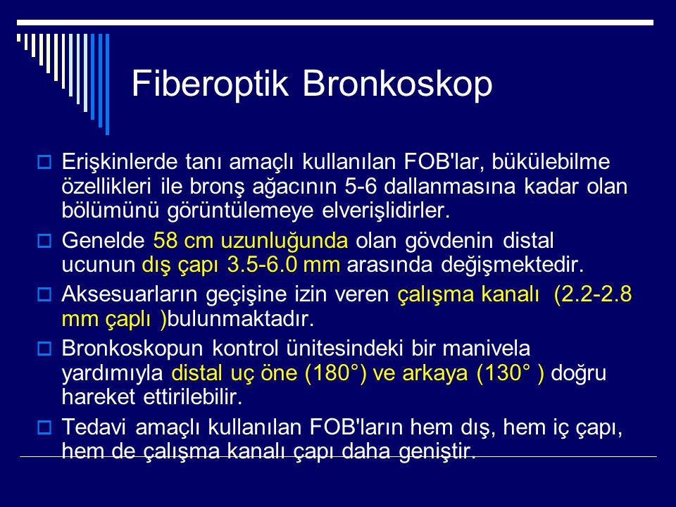 Fiberoptik Bronkoskop  Erişkinlerde tanı amaçlı kullanılan FOB'lar, bükülebilme özellikleri ile bronş ağacının 5-6 dallanmasına kadar olan bölümünü g