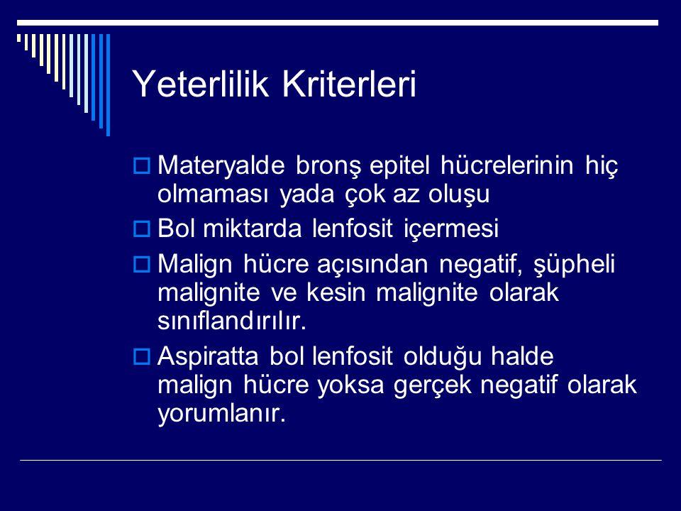 Yeterlilik Kriterleri  Materyalde bronş epitel hücrelerinin hiç olmaması yada çok az oluşu  Bol miktarda lenfosit içermesi  Malign hücre açısından
