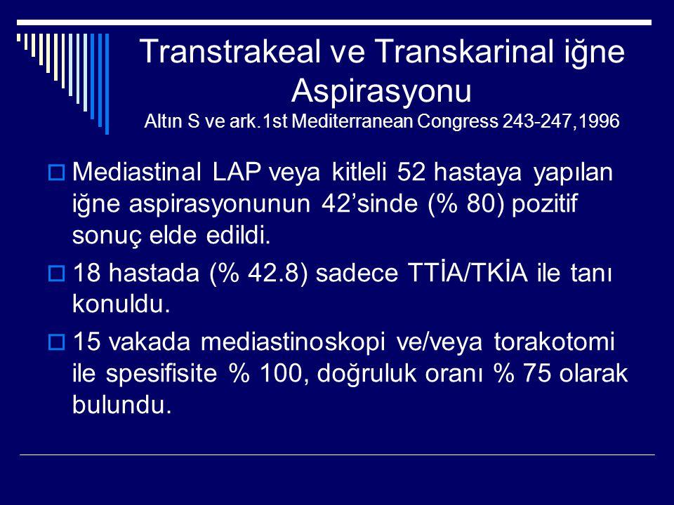 Transtrakeal ve Transkarinal iğne Aspirasyonu Altın S ve ark.1st Mediterranean Congress 243-247,1996  Mediastinal LAP veya kitleli 52 hastaya yapılan
