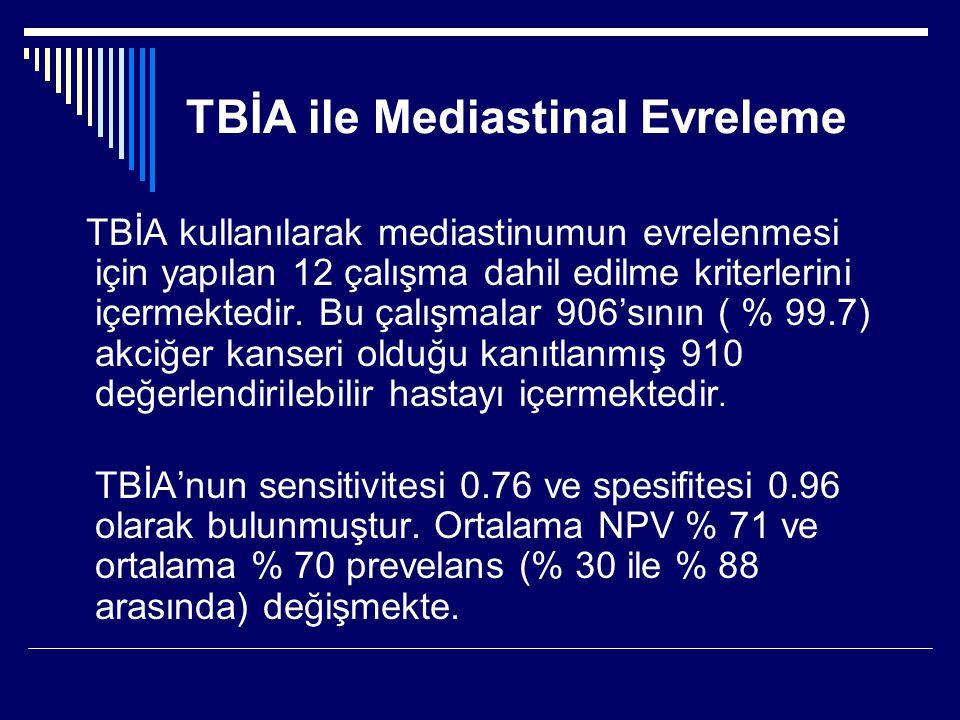 TBİA ile Mediastinal Evreleme TBİA kullanılarak mediastinumun evrelenmesi için yapılan 12 çalışma dahil edilme kriterlerini içermektedir. Bu çalışmala