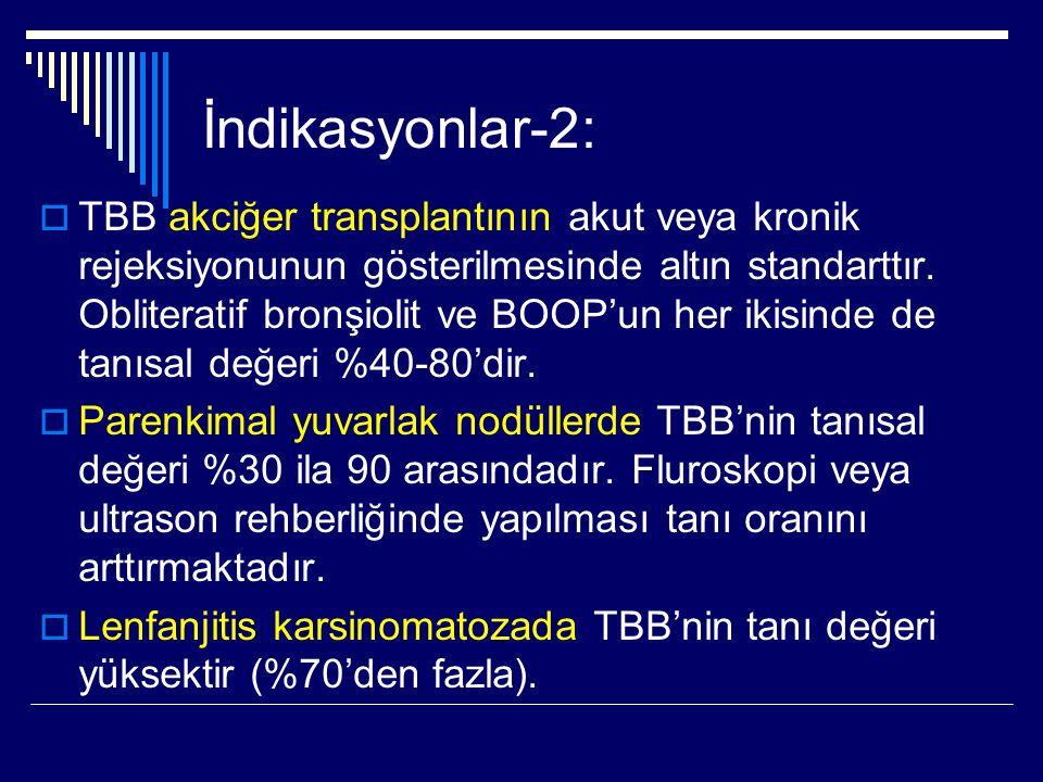 İndikasyonlar-2:  TBB akciğer transplantının akut veya kronik rejeksiyonunun gösterilmesinde altın standarttır. Obliteratif bronşiolit ve BOOP'un her