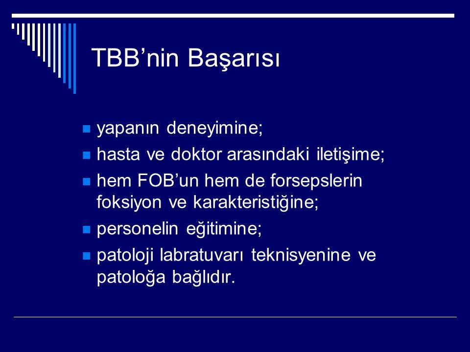 TBB'nin Başarısı yapanın deneyimine; hasta ve doktor arasındaki iletişime; hem FOB'un hem de forsepslerin foksiyon ve karakteristiğine; personelin eği