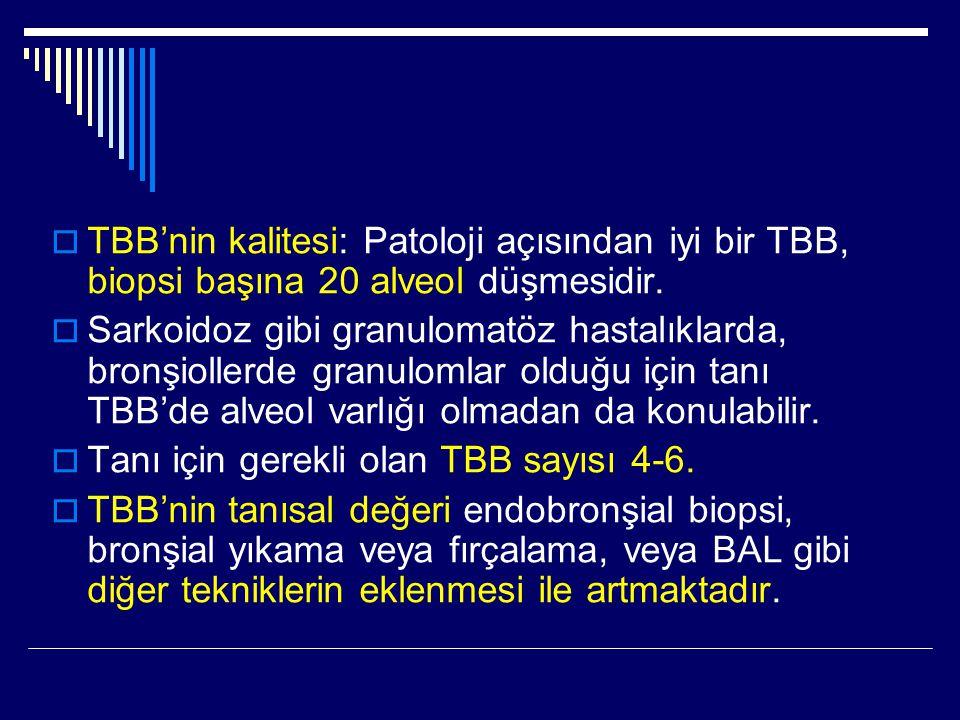  TBB'nin kalitesi: Patoloji açısından iyi bir TBB, biopsi başına 20 alveol düşmesidir.  Sarkoidoz gibi granulomatöz hastalıklarda, bronşiollerde gra