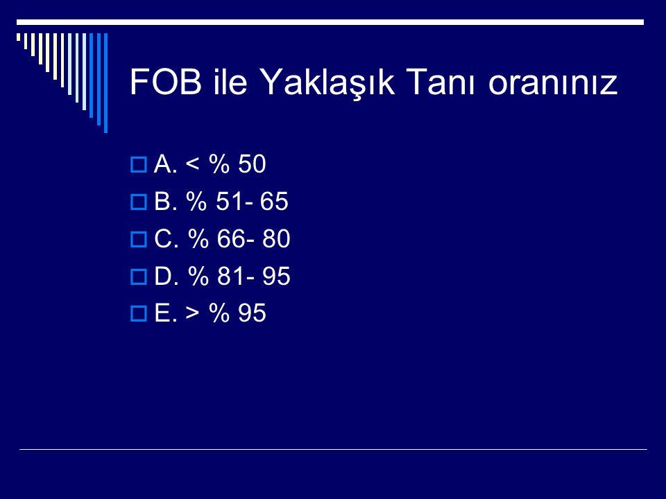 FOB ile Yaklaşık Tanı oranınız AA. < % 50 BB. % 51- 65 CC. % 66- 80 DD. % 81- 95 EE. > % 95