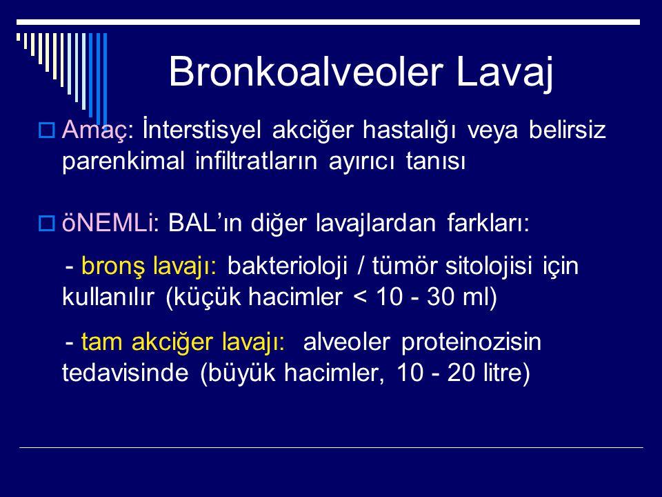 Bronkoalveoler Lavaj  Amaç: İnterstisyel akciğer hastalığı veya belirsiz parenkimal infiltratların ayırıcı tanısı  öNEMLi: BAL'ın diğer lavajlardan
