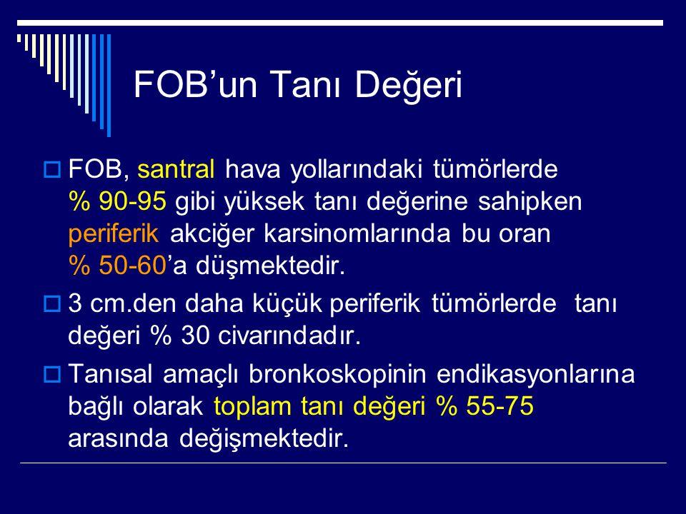 FOB'un Tanı Değeri  FOB, santral hava yollarındaki tümörlerde % 90-95 gibi yüksek tanı değerine sahipken periferik akciğer karsinomlarında bu oran %