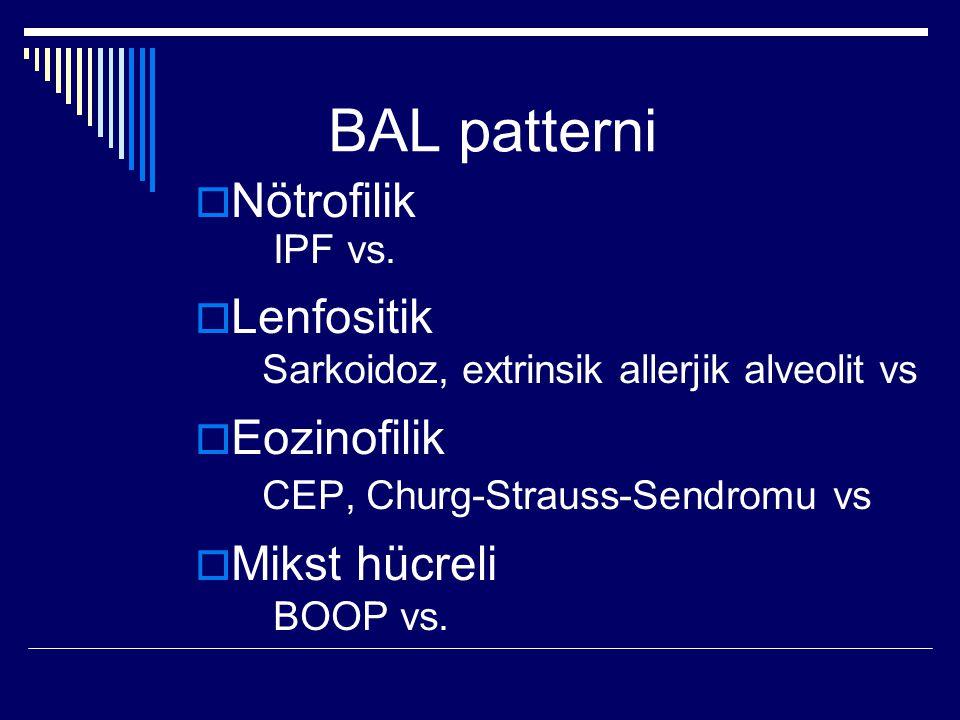 BAL patterni  Nötrofilik IPF vs.  Lenfositik Sarkoidoz, extrinsik allerjik alveolit vs  Eozinofilik CEP, Churg-Strauss-Sendromu vs  Mikst hücreli