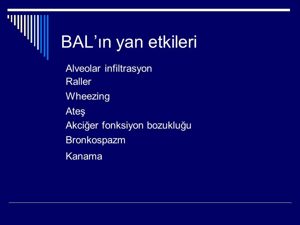 BAL'ın yan etkileri Alveolar infiltrasyon Raller Wheezing Ateş Akciğer fonksiyon bozukluğu Bronkospazm Kanama