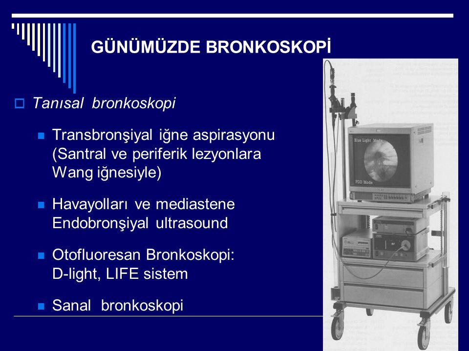 GÜNÜMÜZDE BRONKOSKOPİ  Tanısal bronkoskopi Transbronşiyal iğne aspirasyonu (Santral ve periferik lezyonlara Wang iğnesiyle) Havayolları ve mediastene