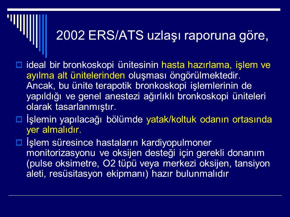 2002 ERS/ATS uzlaşı raporuna göre,  ideal bir bronkoskopi ünitesinin hasta hazırlama, işlem ve ayılma alt ünitelerinden oluşması öngörülmektedir. Anc