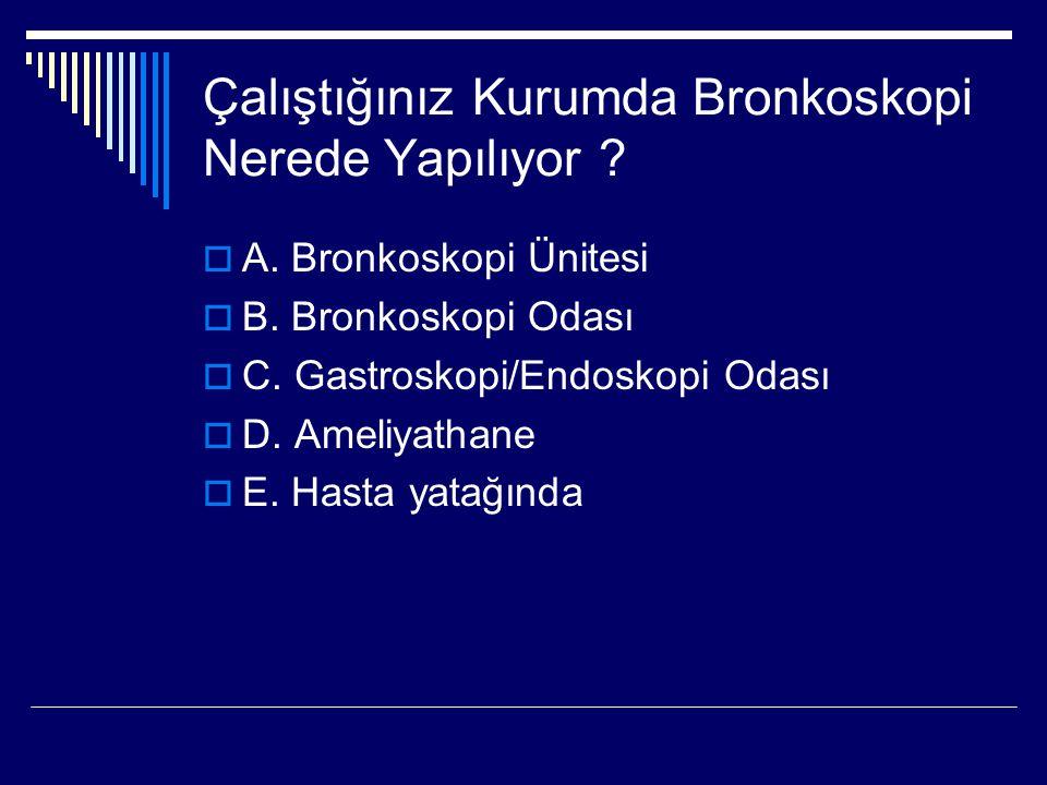 Çalıştığınız Kurumda Bronkoskopi Nerede Yapılıyor ?  A. Bronkoskopi Ünitesi  B. Bronkoskopi Odası  C. Gastroskopi/Endoskopi Odası  D. Ameliyathane