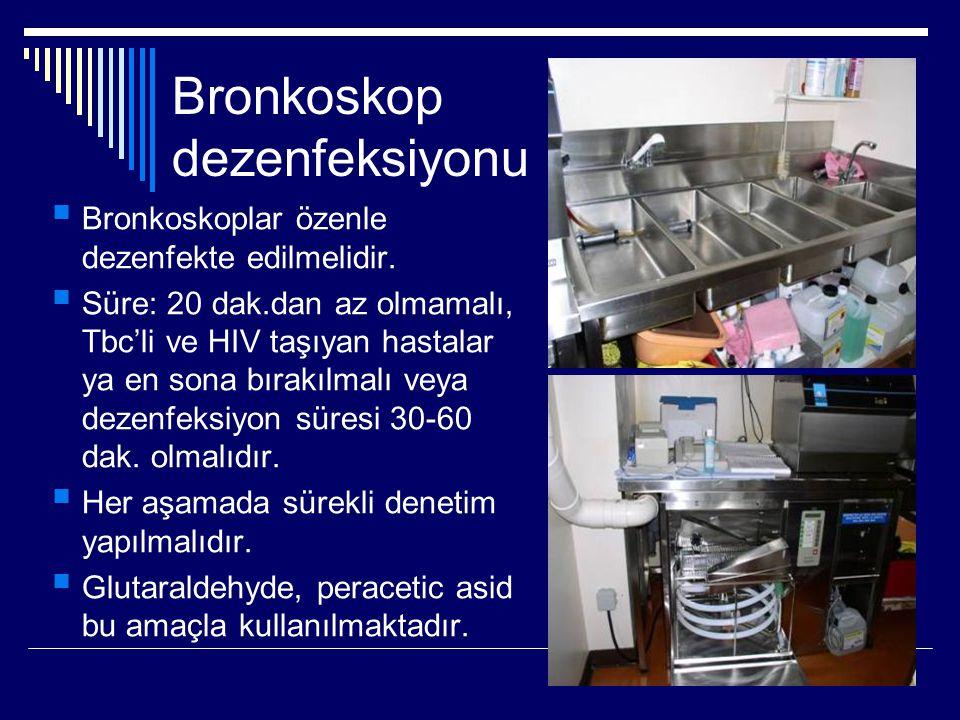 Bronkoskop dezenfeksiyonu  Bronkoskoplar özenle dezenfekte edilmelidir.  Süre: 20 dak.dan az olmamalı, Tbc'li ve HIV taşıyan hastalar ya en sona bır