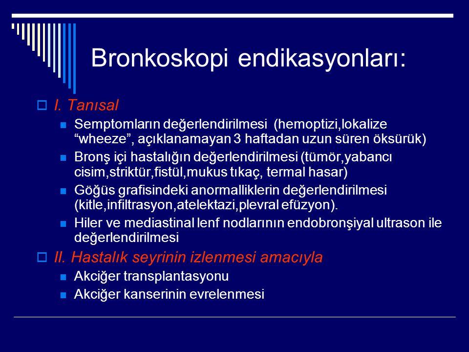 """Bronkoskopi endikasyonları:  I. Tanısal Semptomların değerlendirilmesi (hemoptizi,lokalize """"wheeze"""", açıklanamayan 3 haftadan uzun süren öksürük) Bro"""