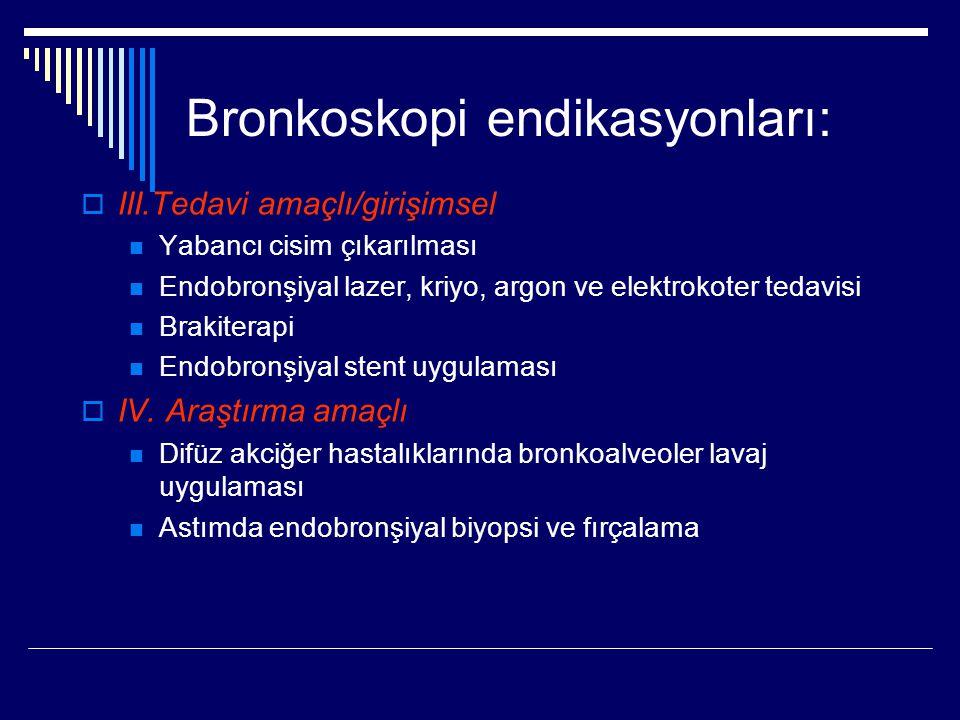 Bronkoskopi endikasyonları:  III.Tedavi amaçlı/girişimsel Yabancı cisim çıkarılması Endobronşiyal lazer, kriyo, argon ve elektrokoter tedavisi Brakit