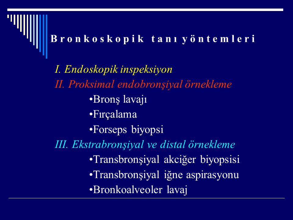B r o n k o s k o p i k t a n ı y ö n t e m l e r i I. Endoskopik inspeksiyon II. Proksimal endobronşiyal örnekleme Bronş lavajı Fırçalama Forseps biy