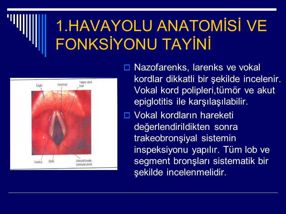 1.HAVAYOLU ANATOMİSİ VE FONKSİYONU TAYİNİ  Nazofarenks, larenks ve vokal kordlar dikkatli bir şekilde incelenir. Vokal kord polipleri,tümör ve akut e