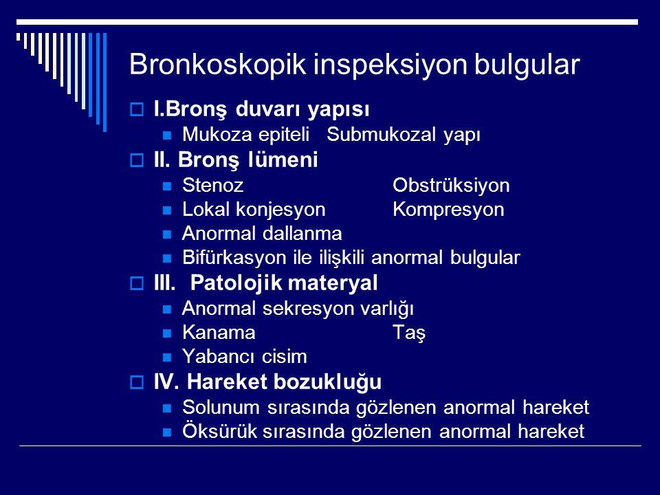 Bronkoskopik inspeksiyon bulgular  I.Bronş duvarı yapısı Mukoza epiteliSubmukozal yapı  II. Bronş lümeni StenozObstrüksiyon Lokal konjesyonKompresyo
