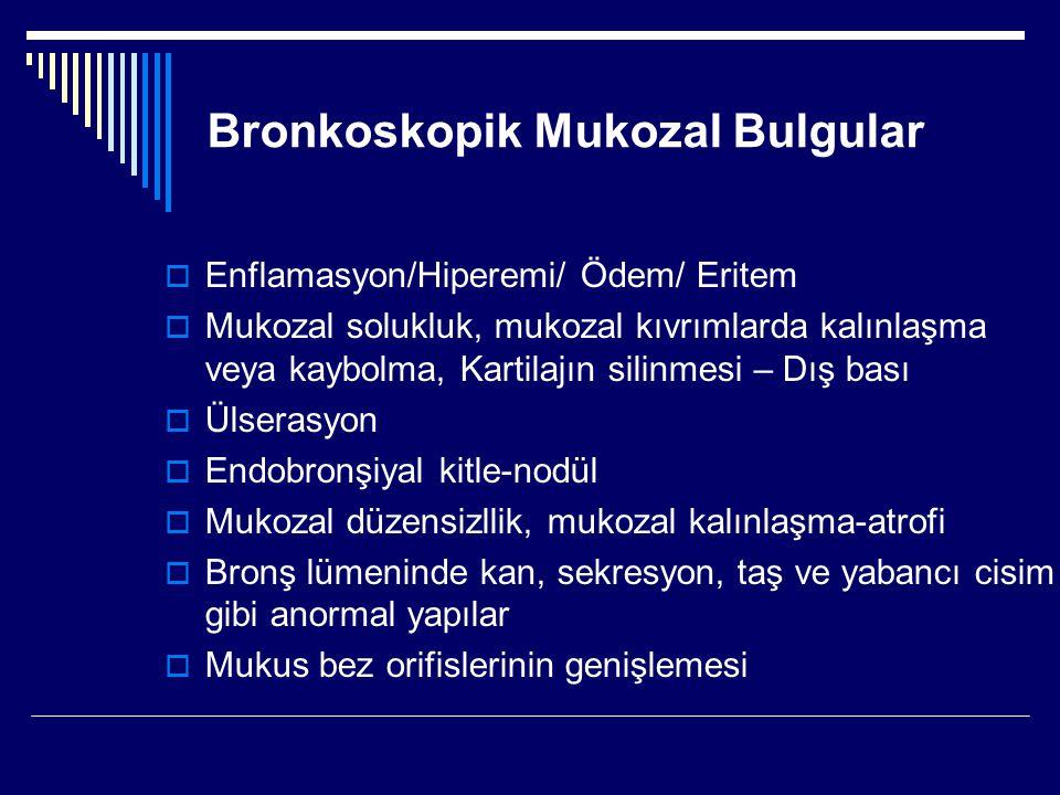 Bronkoskopik Mukozal Bulgular  Enflamasyon/Hiperemi/ Ödem/ Eritem  Mukozal solukluk, mukozal kıvrımlarda kalınlaşma veya kaybolma, Kartilajın silinm