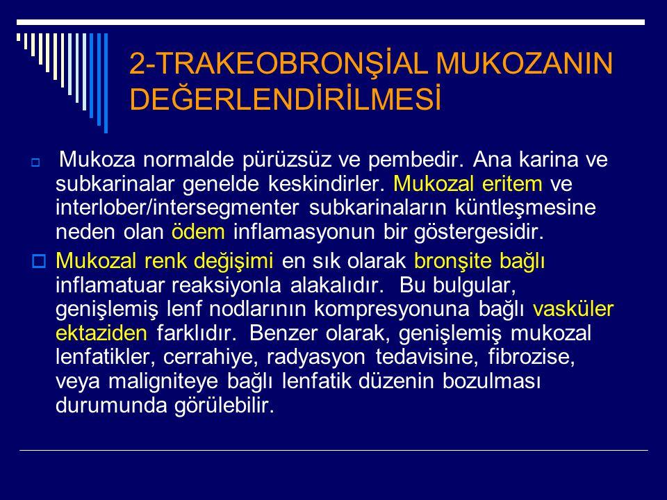 2-TRAKEOBRONŞİAL MUKOZANIN DEĞERLENDİRİLMESİ  Mukoza normalde pürüzsüz ve pembedir. Ana karina ve subkarinalar genelde keskindirler. Mukozal eritem v