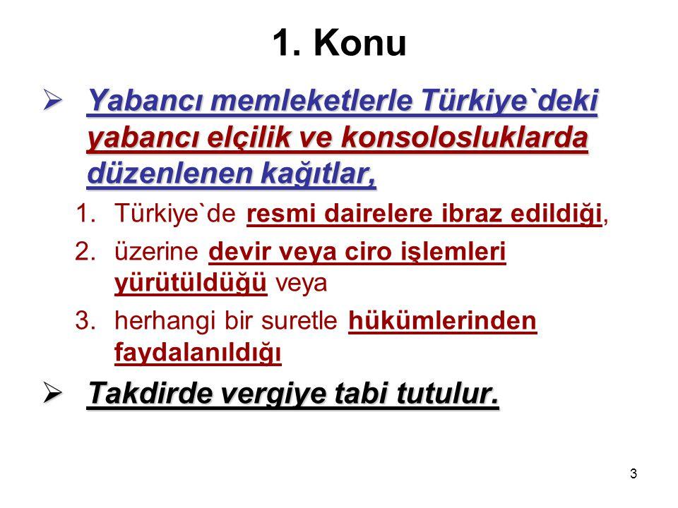 3 1. Konu  Yabancı memleketlerle Türkiye`deki yabancı elçilik ve konsolosluklarda düzenlenen kağıtlar, 1.Türkiye`de resmi dairelere ibraz edildiği, 2