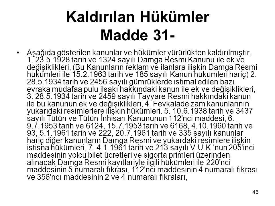 45 Kaldırılan Hükümler Madde 31- Aşağıda gösterilen kanunlar ve hükümler yürürlükten kaldırılmıştır. 1. 23.5.1928 tarih ve 1324 sayılı Damga Resmi Kan