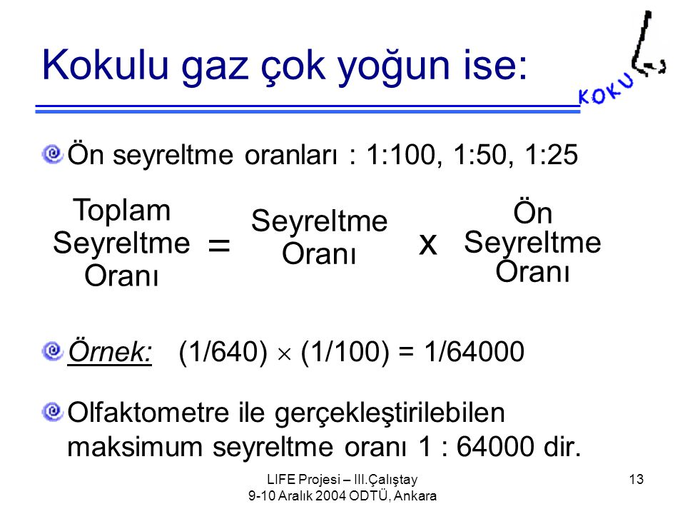 LIFE Projesi – III.Çalıştay 9-10 Aralık 2004 ODTÜ, Ankara 13 Kokulu gaz çok yoğun ise: Toplam Seyreltme Oranı = Seyreltme Oranı Ön Seyreltme Oranı x Ön seyreltme oranları : 1:100, 1:50, 1:25 Örnek:(1/640)  (1/100) = 1/64000 Olfaktometre ile gerçekleştirilebilen maksimum seyreltme oranı 1 : 64000 dir.