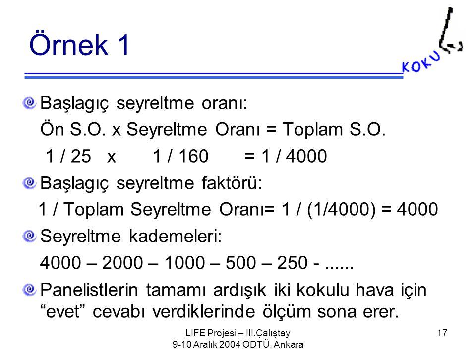 LIFE Projesi – III.Çalıştay 9-10 Aralık 2004 ODTÜ, Ankara 17 Örnek 1 Başlagıç seyreltme oranı: Ön S.O.