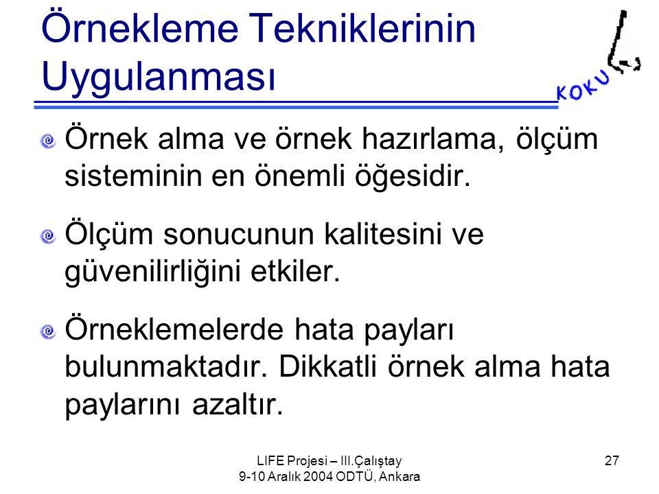 LIFE Projesi – III.Çalıştay 9-10 Aralık 2004 ODTÜ, Ankara 27 Örnekleme Tekniklerinin Uygulanması Örnek alma ve örnek hazırlama, ölçüm sisteminin en önemli öğesidir.