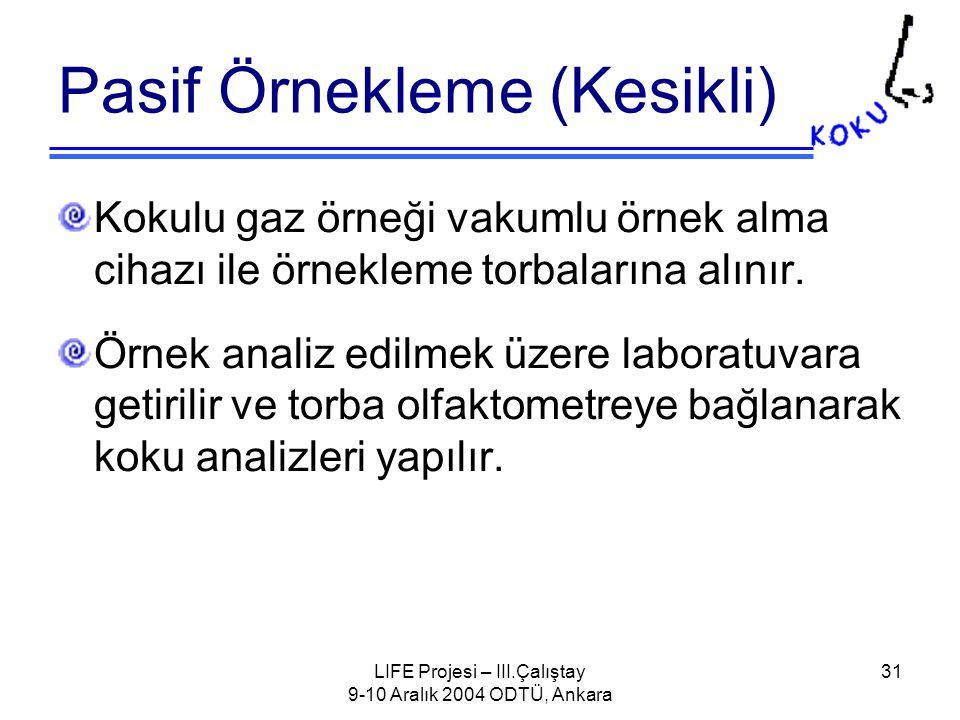 LIFE Projesi – III.Çalıştay 9-10 Aralık 2004 ODTÜ, Ankara 31 Pasif Örnekleme (Kesikli) Kokulu gaz örneği vakumlu örnek alma cihazı ile örnekleme torbalarına alınır.