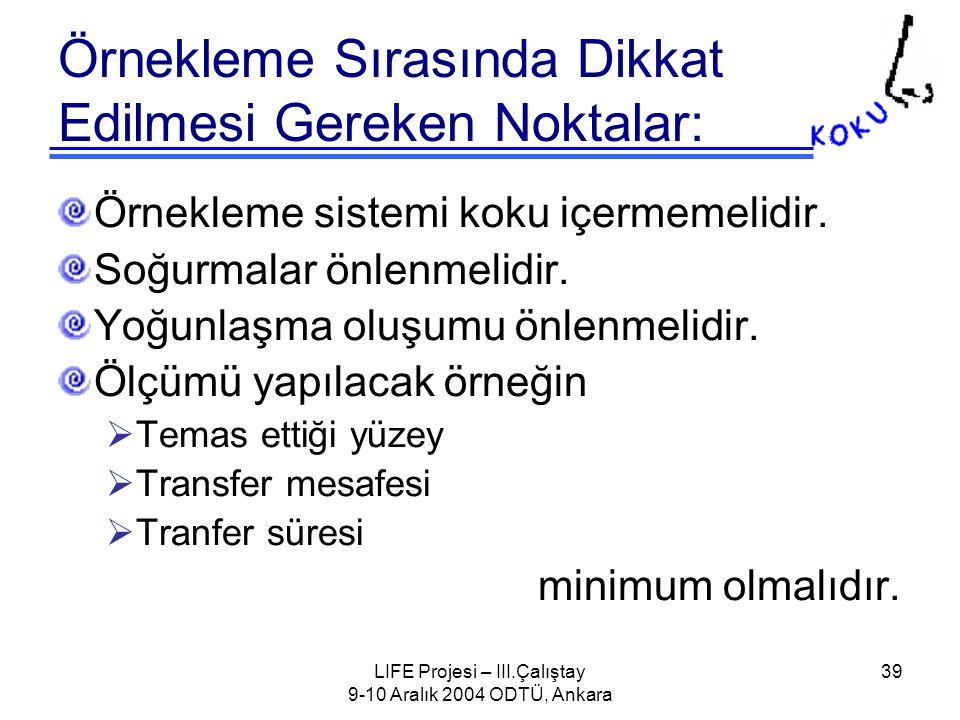 LIFE Projesi – III.Çalıştay 9-10 Aralık 2004 ODTÜ, Ankara 39 Örnekleme Sırasında Dikkat Edilmesi Gereken Noktalar: Örnekleme sistemi koku içermemelidir.