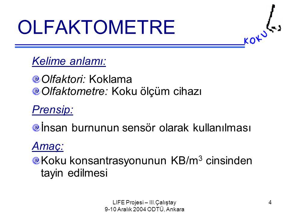 LIFE Projesi – III.Çalıştay 9-10 Aralık 2004 ODTÜ, Ankara 5 Olfaktometre – Genel İlkeler Olfaktometre ile kokunun insan üzerinde yarattığı etki laboratuvar ortamında simule edilmektedir.
