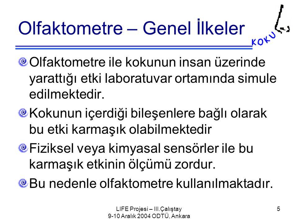 LIFE Projesi – III.Çalıştay 9-10 Aralık 2004 ODTÜ, Ankara 36 Ölçüm Alınan örneğin 24 saat içinde olfaktometre ile ölçümü yapılmalıdır.
