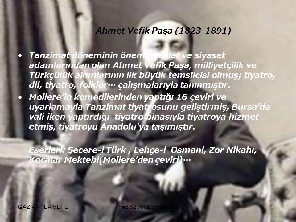 Ahmet Vefik Paşa (1823-1891) Tanzimat döneminin önemli devlet ve siyaset adamlarından olan Ahmet Vefik Paşa, milliyetçilik ve Türkçülük akımlarının il