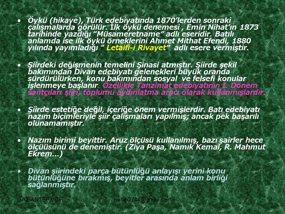 """Öykü (hikaye), Türk edebiyatında 1870'lerden sonraki çalışmalarda görülür. İlk öykü denemesi, Emin Nihat'ın 1873 tarihinde yazdığı """"Müsameretname"""" adl"""