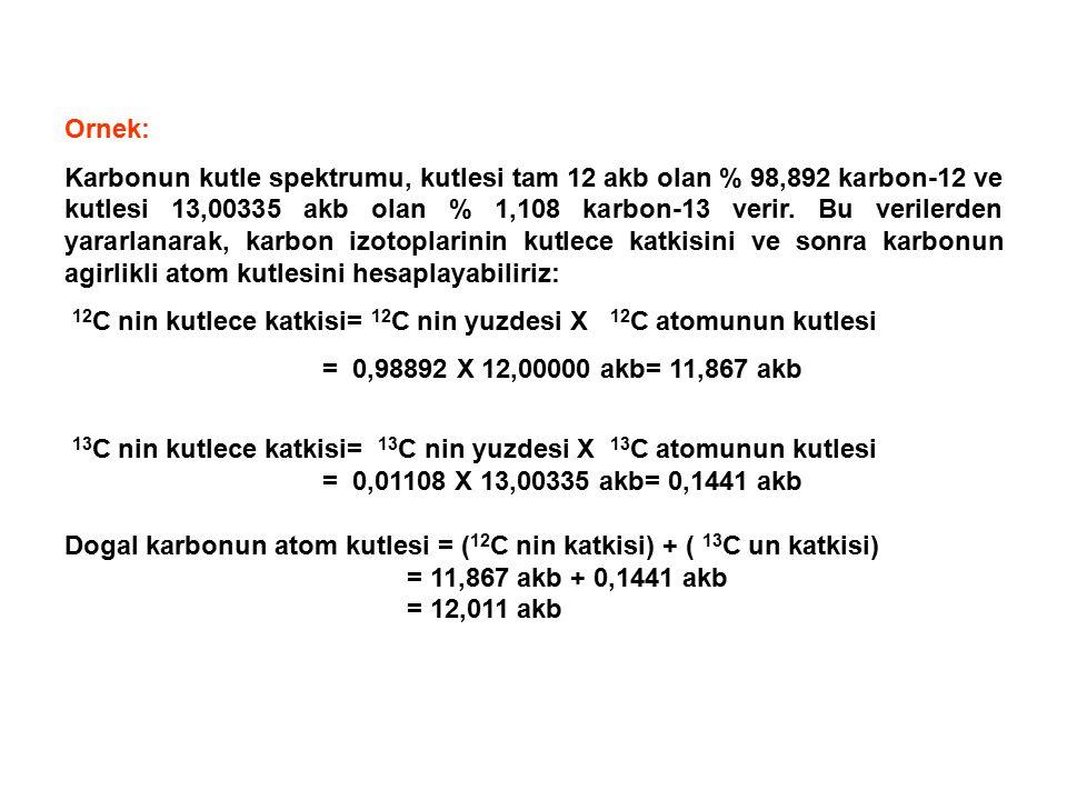 Ornek: Karbonun kutle spektrumu, kutlesi tam 12 akb olan % 98,892 karbon-12 ve kutlesi 13,00335 akb olan % 1,108 karbon-13 verir.