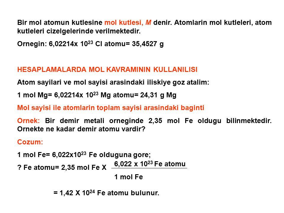 Bir mol atomun kutlesine mol kutlesi, M denir. Atomlarin mol kutleleri, atom kutleleri cizelgelerinde verilmektedir. Ornegin: 6,02214x 10 23 Cl atomu=