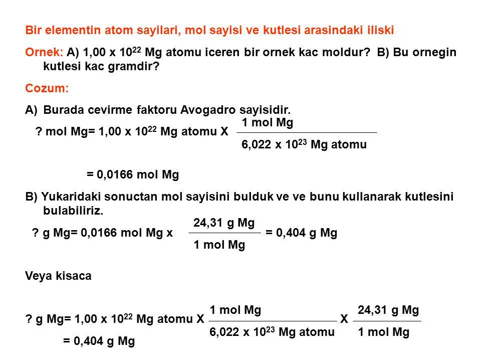 Bir elementin atom sayilari, mol sayisi ve kutlesi arasindaki iliski Ornek: A) 1,00 x 10 22 Mg atomu iceren bir ornek kac moldur? B) Bu ornegin kutles