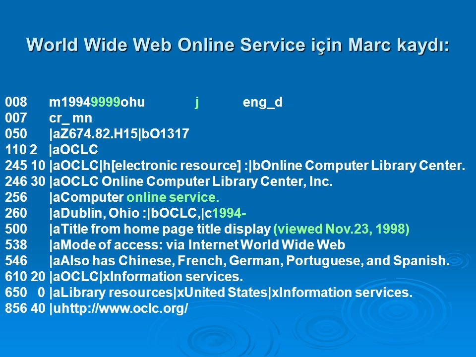 World Wide Web Online Service için Marc kaydı: 008 m19949999ohujeng_d 007 cr_ mn 050 |aZ674.82.H15|bO1317 110 2 |aOCLC 245 10 |aOCLC|h[electronic resource] :|bOnline Computer Library Center.